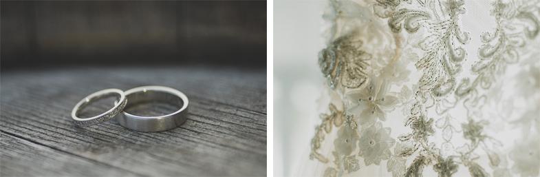 Fotografija poročnih prstanov in detajla čipkaste poročne obleke.