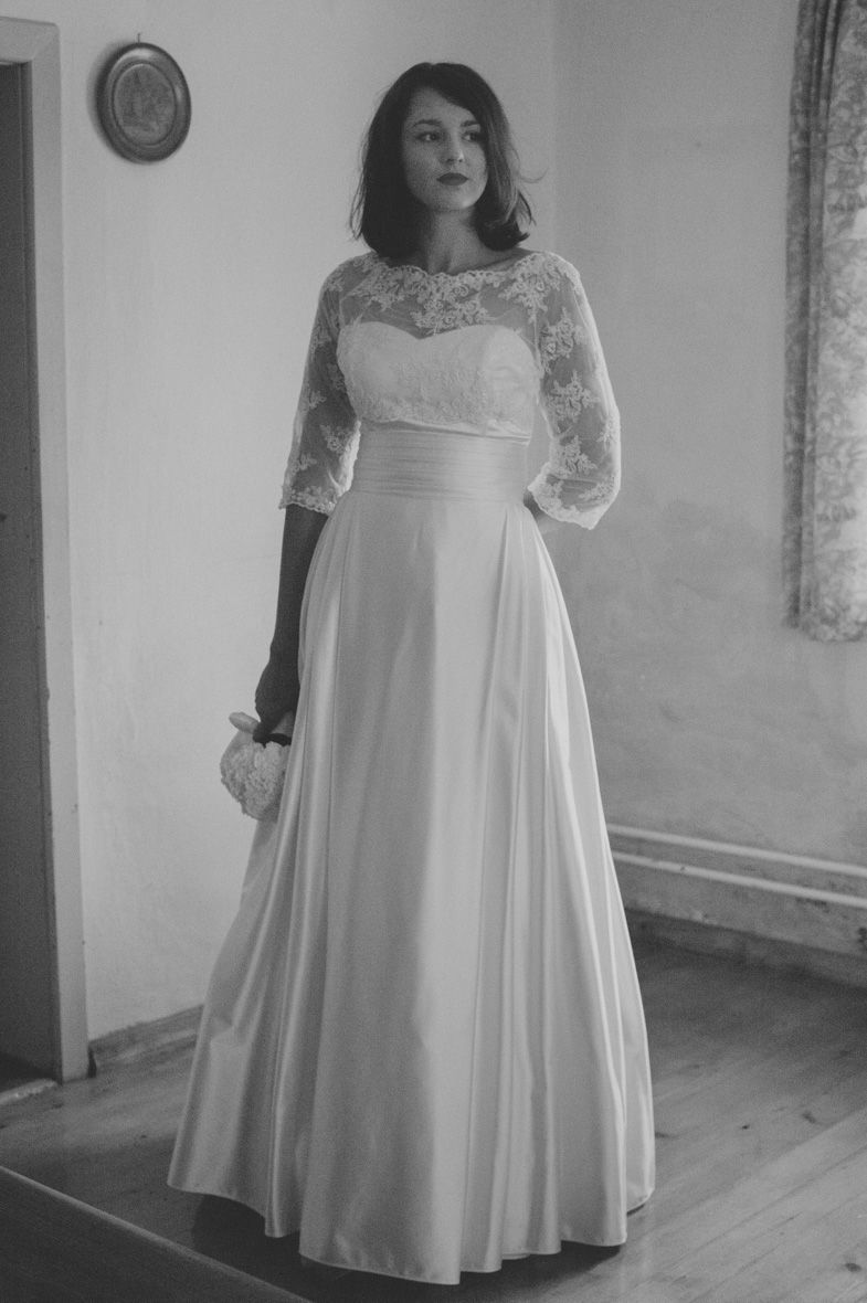The photograph of the romantic bride's dress.
