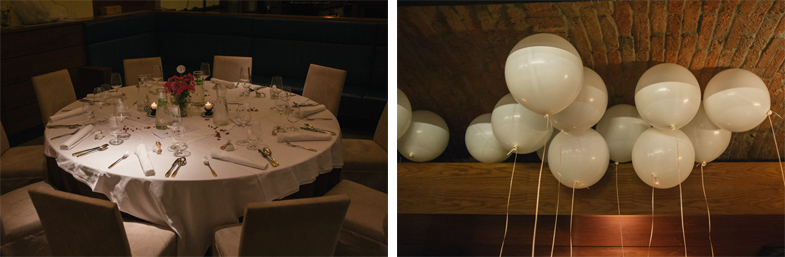 Photo of wedding table decor and balloon decorations.