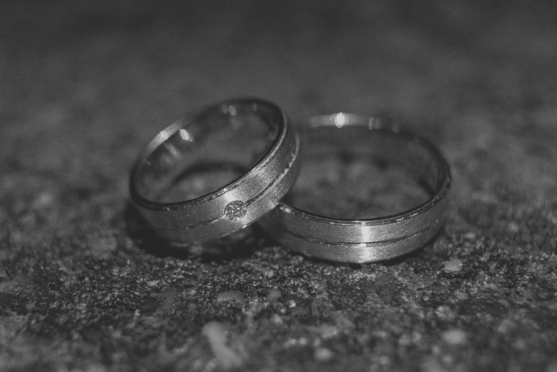 Photo of silver wedding rings.