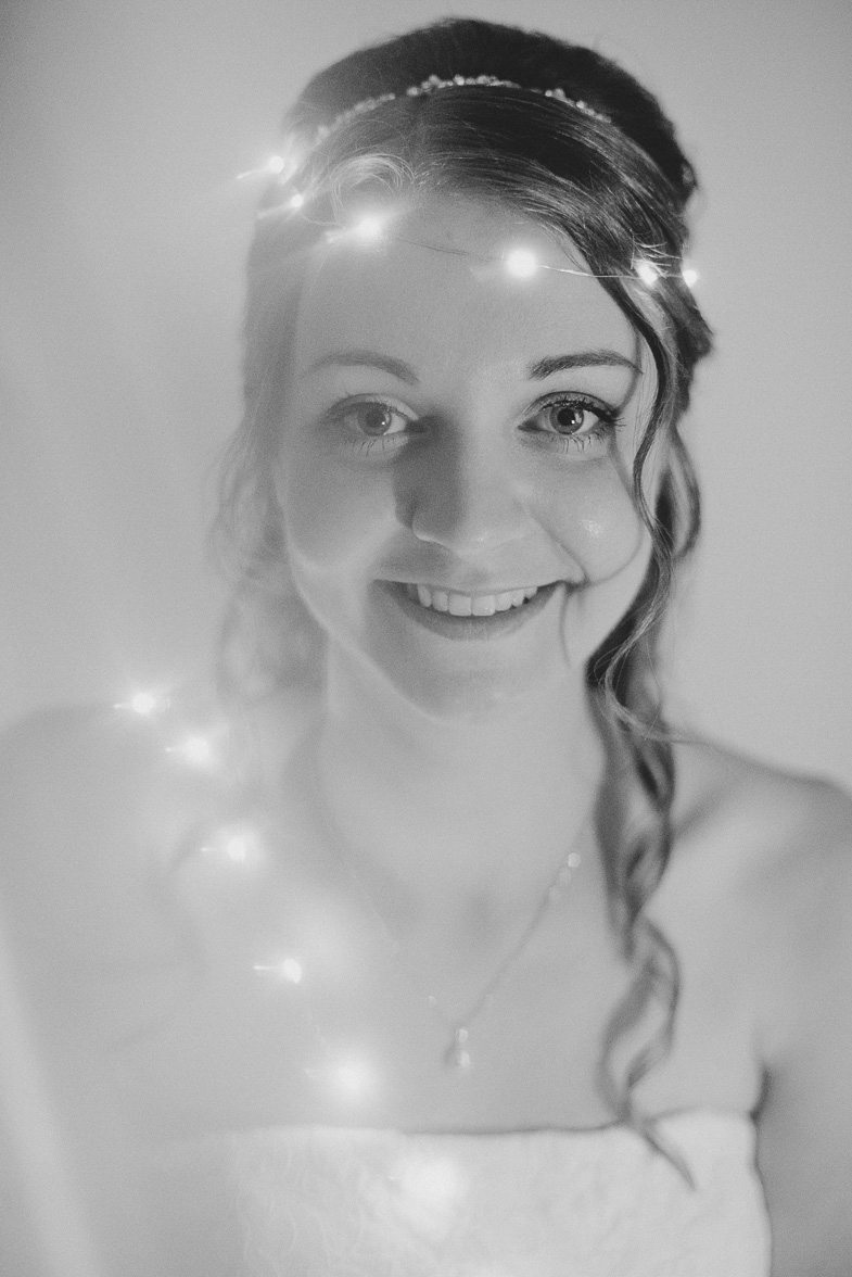 Black and white wedding photo with bride.