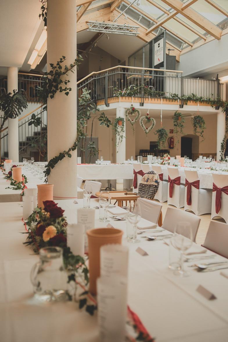 Photo of decorated wedding reception.
