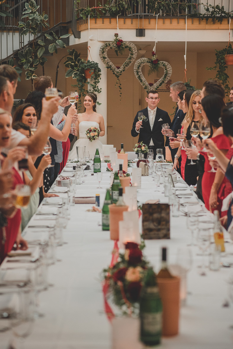 Toast with champagne at a wedding.