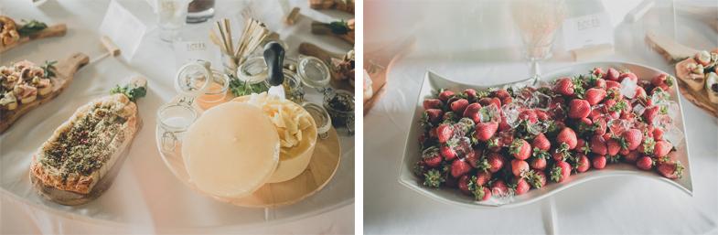 Slani prigrizki in sadje na poroki.