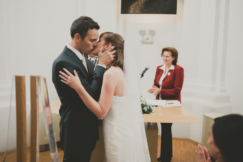 The first kiss on the wedding.