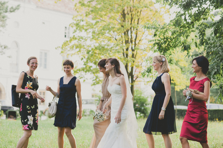 Photo of a bride with friends.