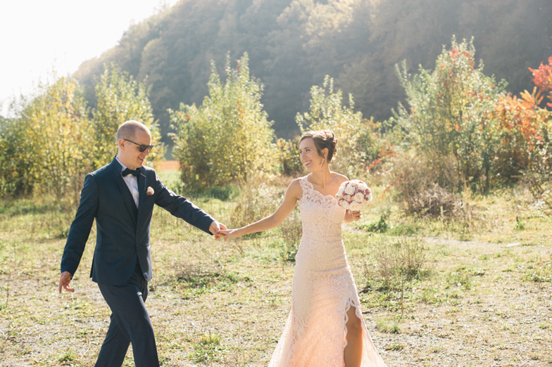 The bride and groom who have hired wedding photographer to take pictures in the Gorenjska region.
