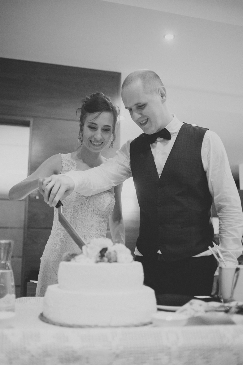The moment of cutting a wedding cake.