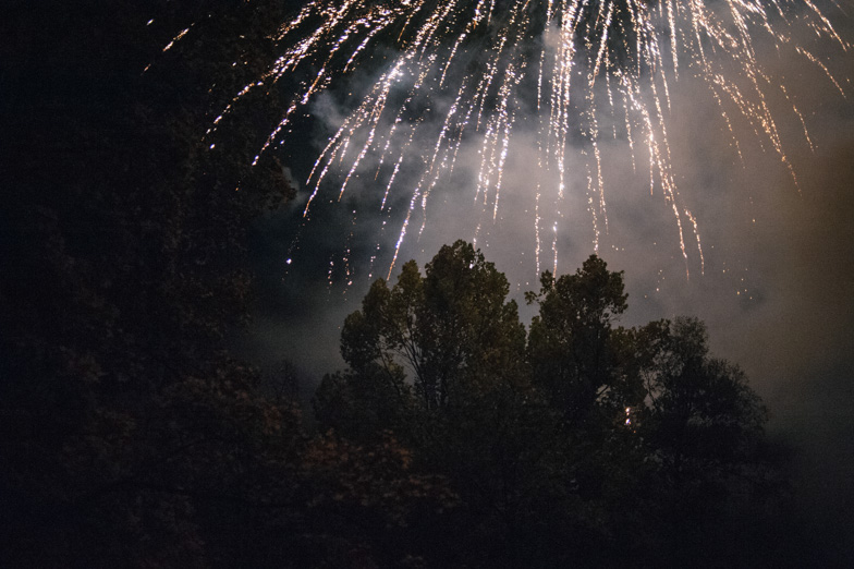 Photo of midnight fireworks at the wedding.