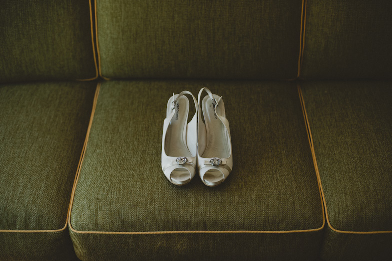 Bridal shoes with high heels.