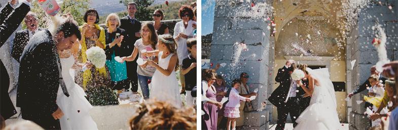 Tearing rice at a wedding.