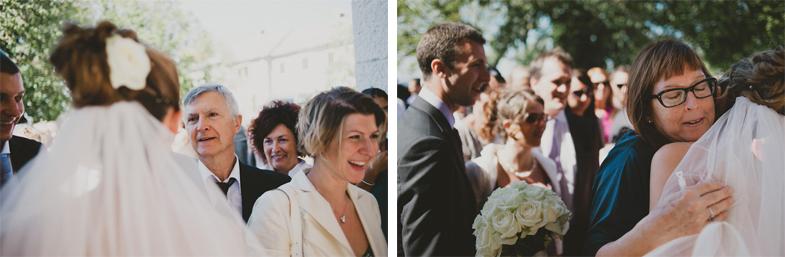 Saying good wishes to the wedding couple.