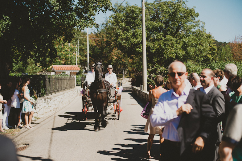 Driving with a carriage at a wedding.