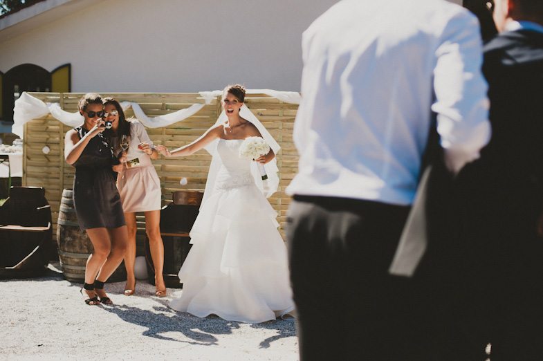 Pictures of a bride with friends.