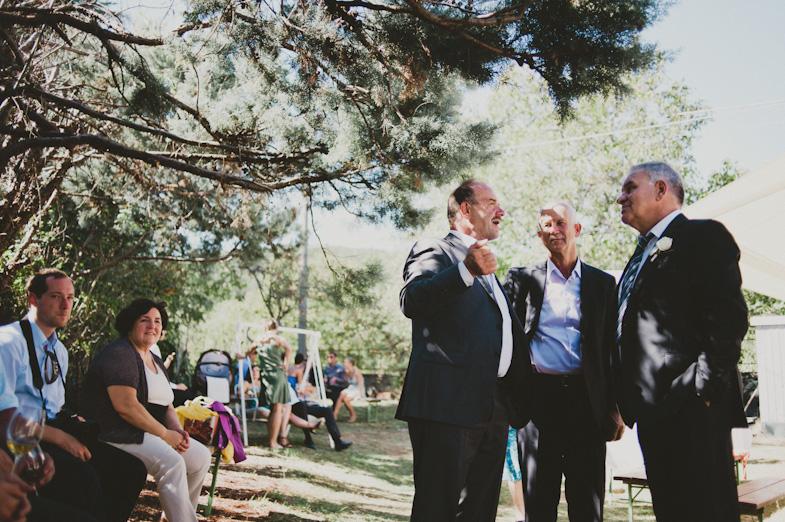 Socializing guests at a wedding.