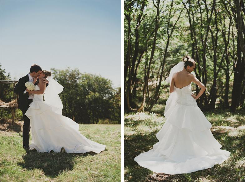 Modna poročna fotografija z nevesto in ženinom.