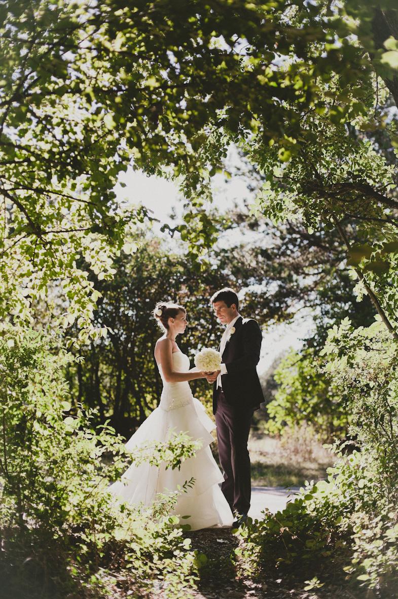 Wedding photo of bride and groom.