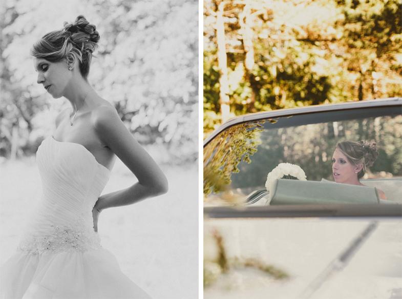 Portrait of a bride in a wedding car.