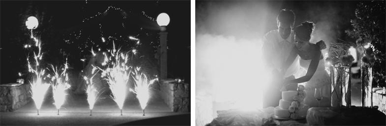 Fireworks at a wedding and cutting a wedding cake.