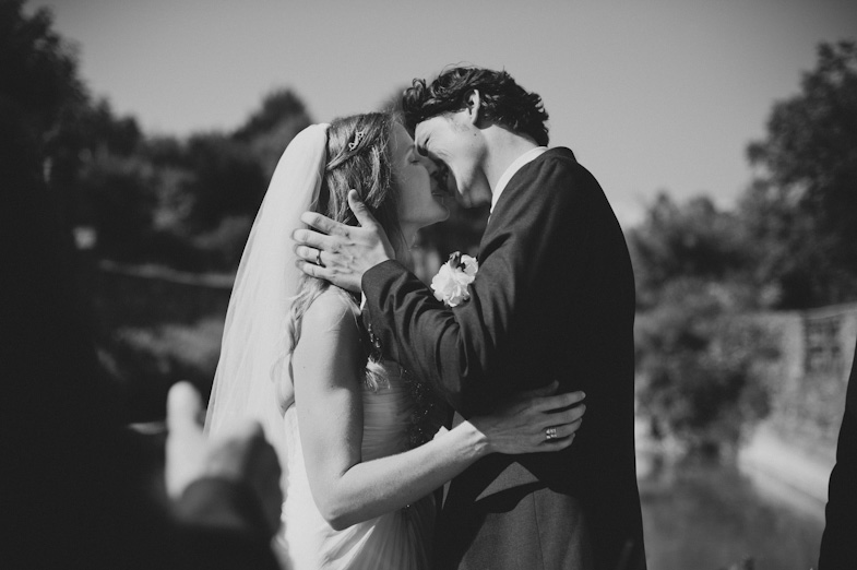 Wedding kiss of newlyweds.