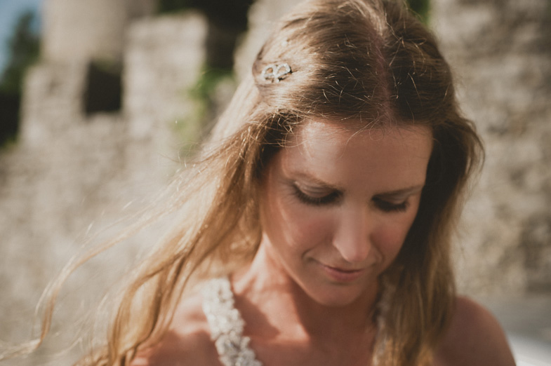 Portrait of a bride where her makeup is beautifully seen.
