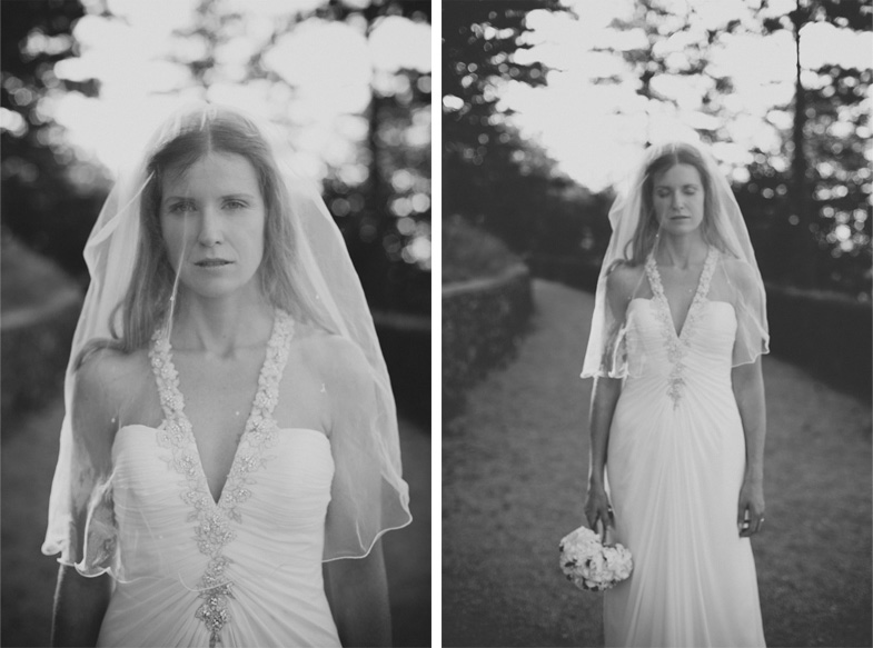 Wedding portrait of the bride in white dress with bridal veil.