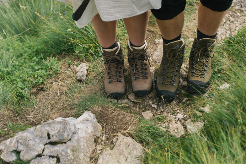Photo of wedding hiking boots.