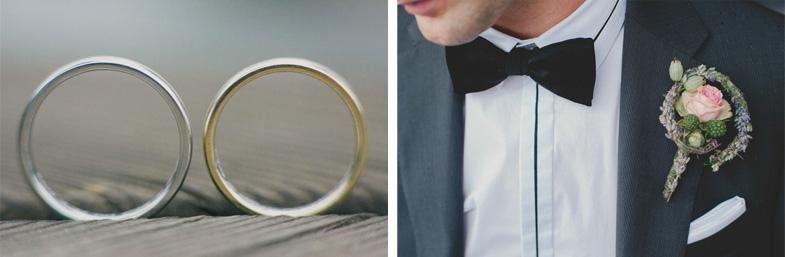 Fotografija poročnih prstanov in naprsnega šopka.