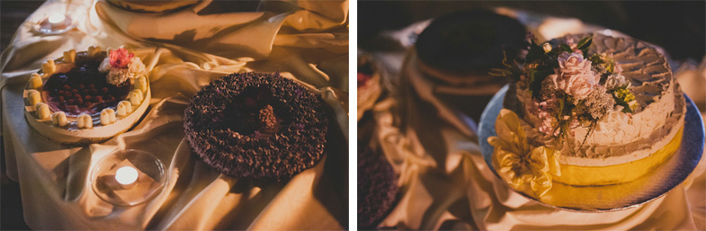 Fotografija čokoladne poročne torte.