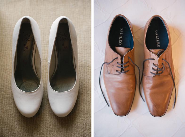 Poročni čevlji ženina in neveste.