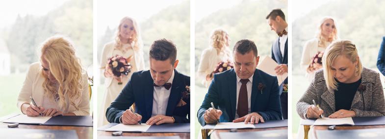 Podpisovanje po poročnem civilnem obredu.