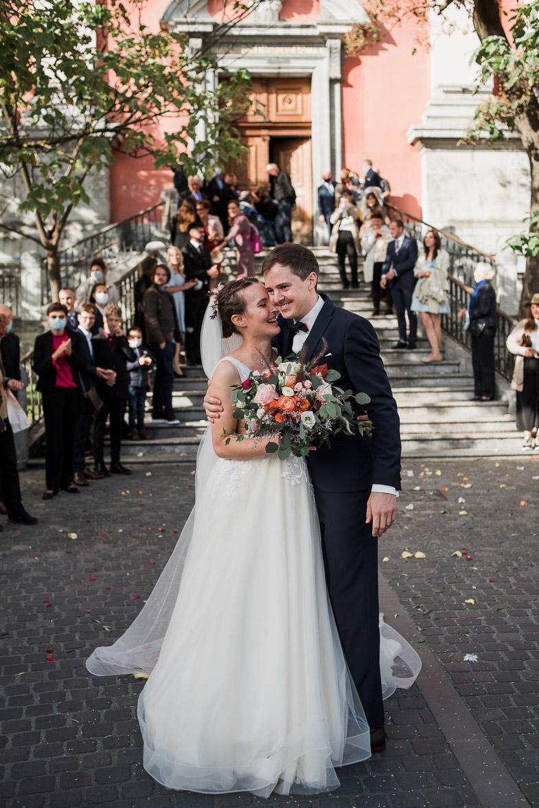 Poroka v Frančiškanski cerkvi na Prešernovem trgu v Ljubljani.