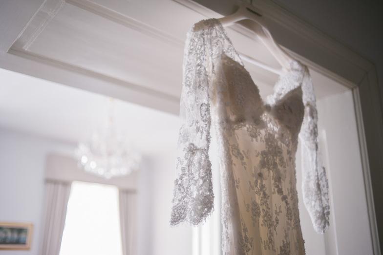 A detail of a unique wedding dress.