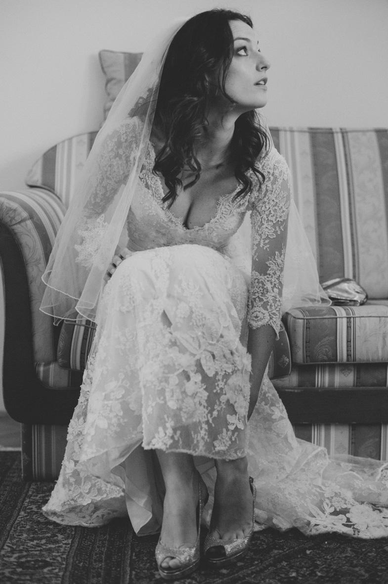 Black and white photo of the glamorous wedding dress.