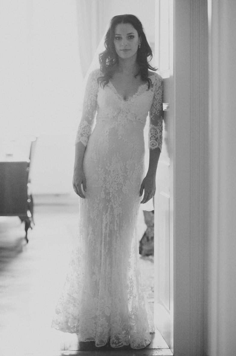 Photograph of the bride in a wedding dress.