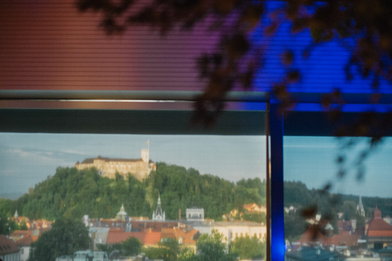 A wedding location with a view of the castle of Ljubljana.
