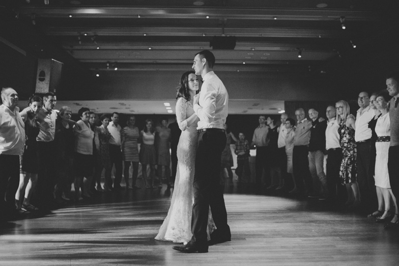 Wedding photograph of the dancing couple.