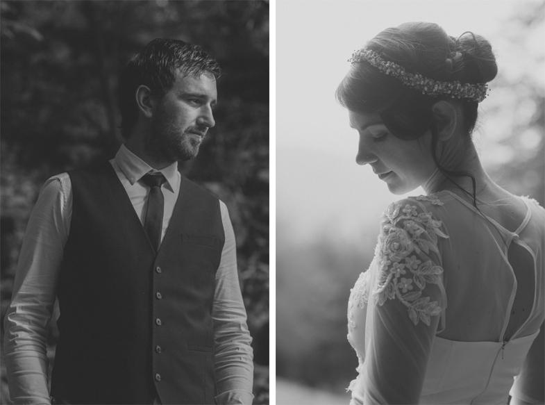 Black and white wedding portrait of newlyweds.