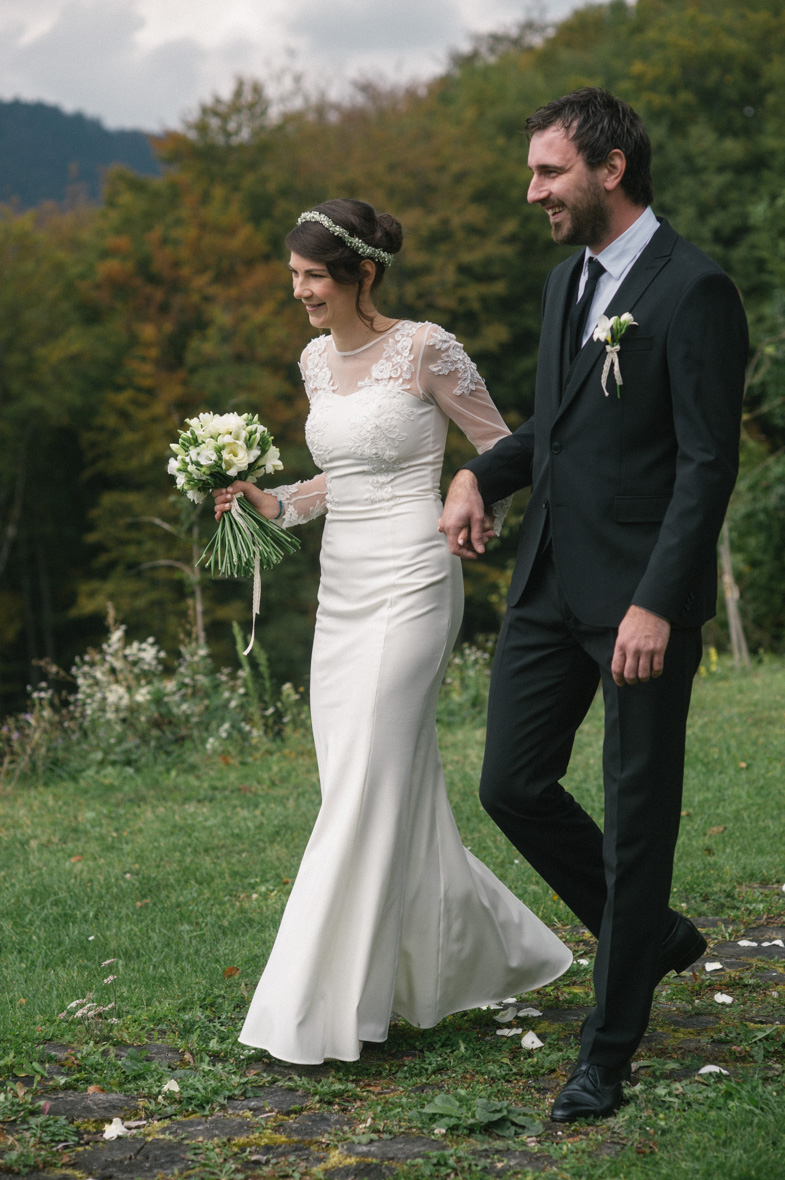 Photo of the newlyweds who were married in autumn.