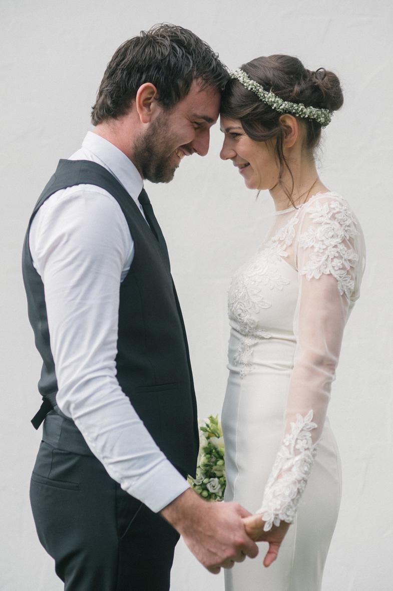 Wedding portrait of groom and bride.