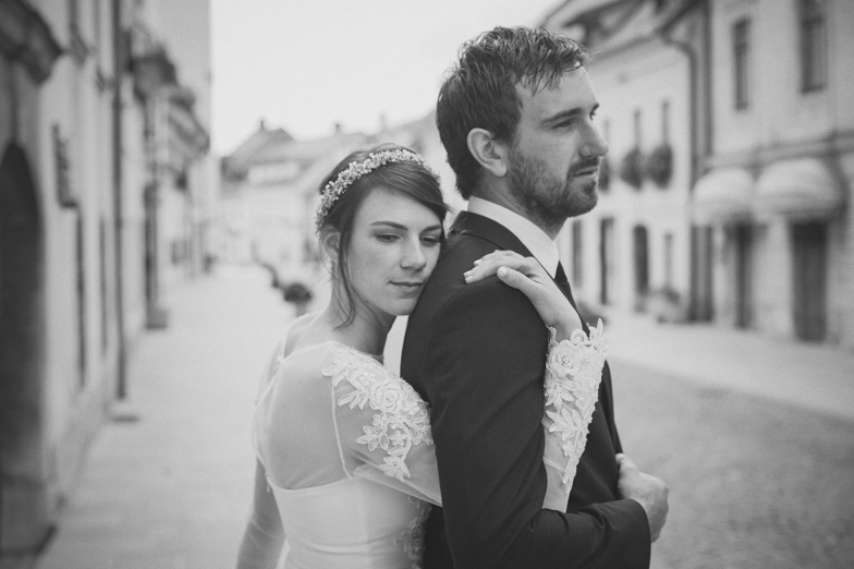 Bride and groom at the location of their wedding in Kamnik.