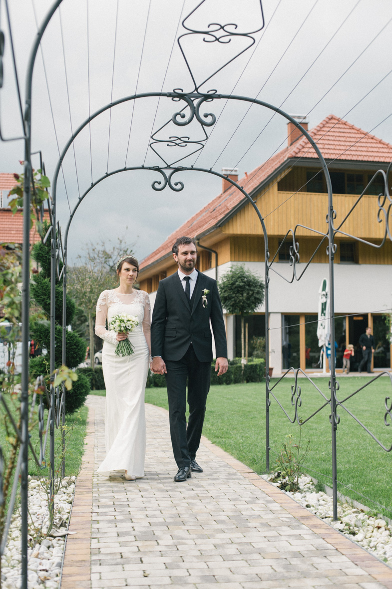 A bride and groom at the location of a civil wedding in Kamnik.