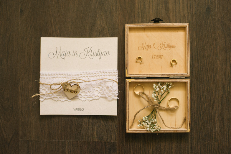 Photograph of wedding invitation and wedding rings.