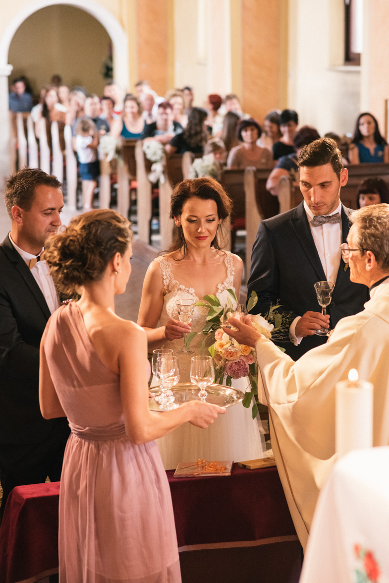 A picture of a church wedding.