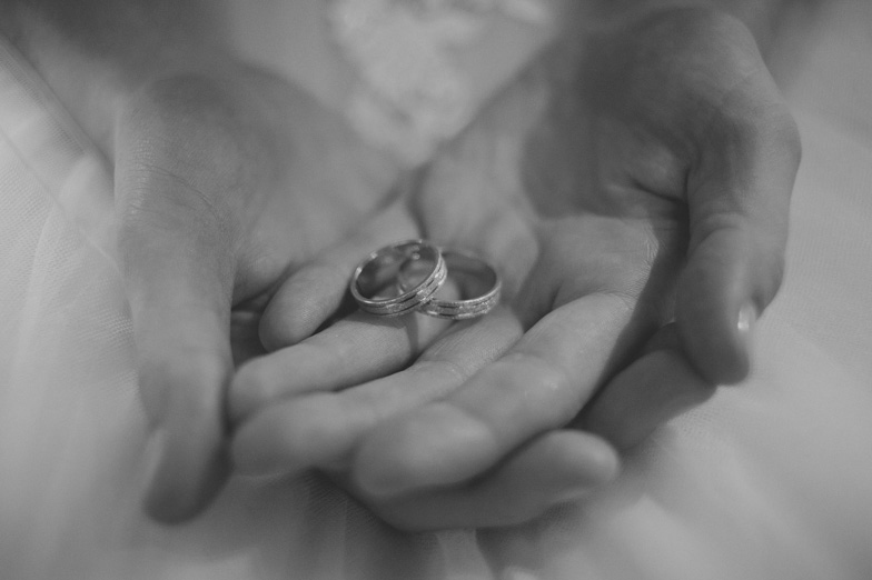 Photograph of wedding rings.