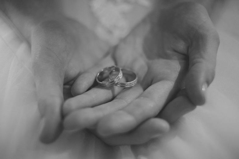 Photograph of wedding rings.