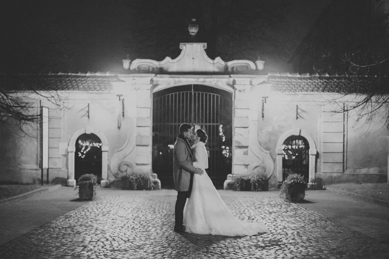 A photo of a couple who chose a luxurious estate for the wedding location.
