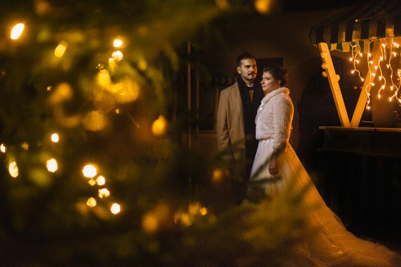 Newlyweds and their fairytale december wedding.