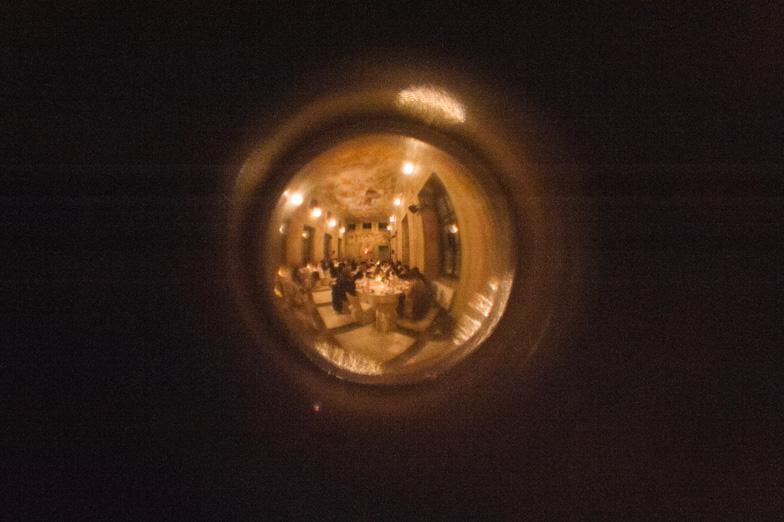 Wedding party through the door viewfinder.