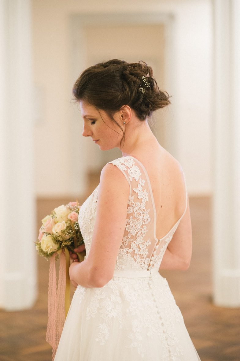 The photograph of the bride's dress.